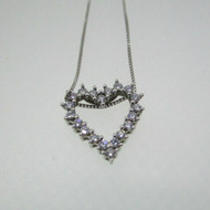 18k White Gold Approx .25 ct TW 20 Round Brilliant Cut Diamond Heart Necklace