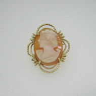 14k Yellow Gold Cameo Conch Shell Pin Brooch Pendant