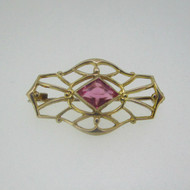 10k Yellow Gold Pink Stone Pin Brooch