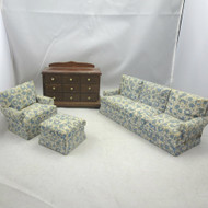 Vintage Handmade Wood Dollhouse Furniture Upholstered Sofa Chair Ottoman Dresser