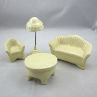 Vintage Handmade Clay Dollhouse Furniture Chair Table Loveseat Tall Lamp Glazed