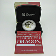 2012 Perth Mint Australian Year Of The Dragon One Ounce Gilded Silver Proof Coin (600378)