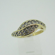 10k Yellow Gold Approx 1/3ct TW Diamond Fashion Band Ring Size 7
