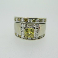 14k White Gold Approx .55ct Princess Cut Yellow Diamond Wedding Set Size 5