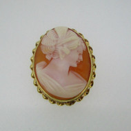 14k Yellow Gold Cameo Conch Shell Pin Brooch