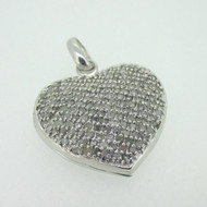 Sterling Silver Diamond Cluster Locket Pendant