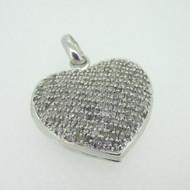 Sterling Silver Diamond Cluster Locket Pendant