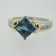 10k White Gold London Blue Topaz Ring with Yellow Gold and Diamond Accents Ring Size 7 1/4
