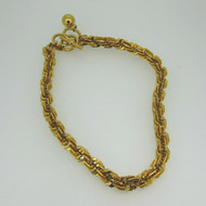 Vintage Yellow Gold Tone Anne Klein Flat 3D Link Choker Necklace w Toggle Clasp