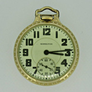 Antique 1939 Hamilton 992 Elinvar 10k Gold Filled Railroad Pocket Watch (B3524)