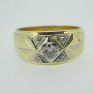 14k Yellow Gold Approx .15ct TW Round Brilliant Cut Diamond Band Ring Size 6 3/4
