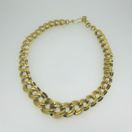 Vintage Yellow Gold Tone Monet Signed Layered Flat Chain Link Choker Necklace