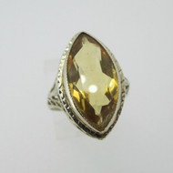 Vintage 14k White Gold Citrine Ring with Filigree Accented Ring Size 7 1/4