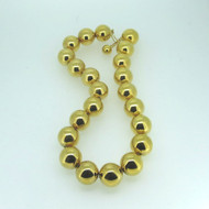 Vintage Yellow Gold Tone Signed Napier Solid Large Round Metal Beaded Necklace