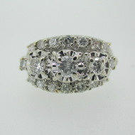 Vintage 14k White Gold Approx 1.0ct TW Diamond Band Ring Size 8