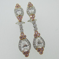 Charles Krypell Platinum 18k Gold Approx 4.0ct TW Pink and White Diamond Dangle Earrings with Lever Backs