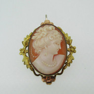 12k Gold Filled Vandell Cameo Pin Brooch