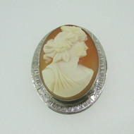 10k White Gold Cameo Statement Pin Pendant