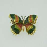 18k Yellow Gold Multi Color Enamel Butterfly Pin Brooch