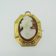 14k Yellow Gold Cameo Pin Brooch