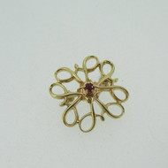 10k Yellow Gold Ruby Accent Pin Brooch