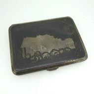 Vintage Sterling Patina Etched Asian Scene Slim Wallet Case Personalized w Name