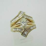 14k Yellow Gold Approx .40 ct Marquise Cut Diamond Ring with Diamond Ring Enhancer Size 6