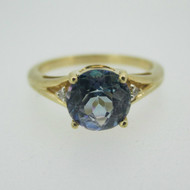 14k Yellow Gold 1.42 ct Neptune Topaz Ring with Diamond Accents Size 7 1/4