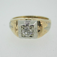 Vintage 14k Yellow Gold Approx .25ct Round Brilliant Cut Diamond Men's Ring Size 9 1/4
