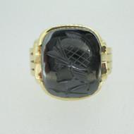 10k Yellow Gold Hematite Intaglio Men's Band Ring Size 12