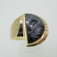 10k Yellow Gold Half Moon Shaped Hematite Intaglio Ring Size 10 1/4