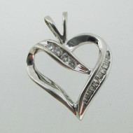 10k White Gold Round Brilliant and Baguette Cut Diamond Heart Pendant