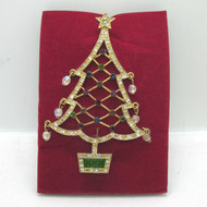 2005 Avon 2nd Annual Christmas Tree Brooch Gold Tone Enamel Multicolored Stones
