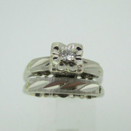 Vintage 14k White Gold Approx .07ct Round Brilliant Cut Diamond Wedding Ring with Band Size 7