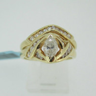 14k Yellow Gold Approx .40ct Marquise Cut Diamond Ring with Diamond Wedding Band Size 6 1/4