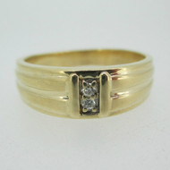 14k Yellow Gold Diamond Men's Wedding Band Size 10 1/2