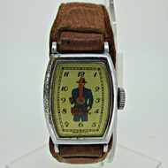 Vintage Dick Tracy Silver Tone Watch with Leather Band Parts Steampunk (B4450)