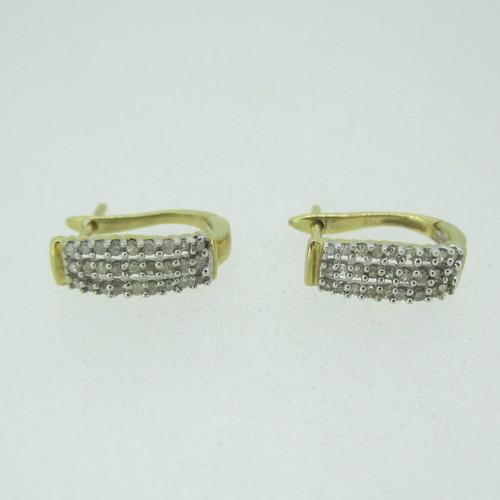 10k Yellow Gold Three Row Round Brilliant Cut Diamond Earrings
