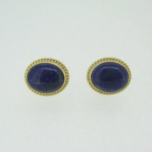 14k Yellow Gold Lapis Stud Earrings