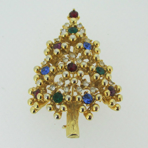 Gold Tone Eisenberg Christmas Tree with Multi Colored Rhinestone Brooch Pin