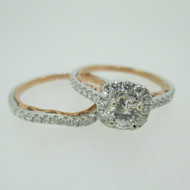 14k White Gold .63ct Round Brilliant Cut Diamond Ring with Rose Gold and Diamond Halo Accents Size 7 1/2