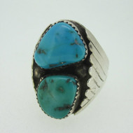 Sterling Silver Blue Green Turquoise Ring Size 11.5