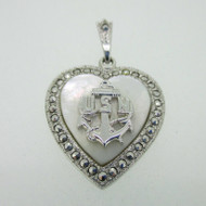 Sterling Silver Marcasite Mother of Pearl Navy Military Sweetheart Pendant