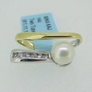 14k Yellow and White Gold Pearl Diamond Pendant