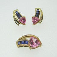 10k Yellow Gold Created Sapphire Earrings Pendant Set