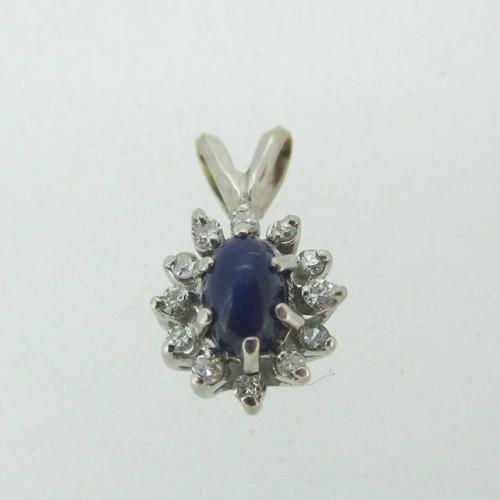 14k white gold blue star sapphire pendant mozeypictures Choice Image