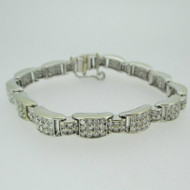 14k White Gold Approx 5.0ct TW Round Brilliant Cut Diamond Bracelet