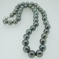18k White Gold Genuine Tahitian Black Pearl Necklace