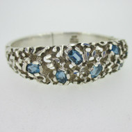 Sterling Silver Blue Topaz Textured Mexico Hinged Bangle Bracelet