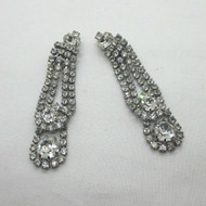 Ladies Vintage Silver Tone Weiss Clear Rhinestones Clip On Dangle Earrings